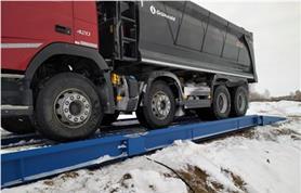 Зима, Россия! Бесфундаментная установка автомобильных весов ВАЛ  80-18 (весы установлены на дорожные плиты)