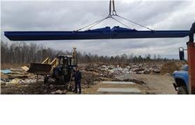 Монтаж 8-метровых, 40-тонных автомобильных весов на мусорном полигоне