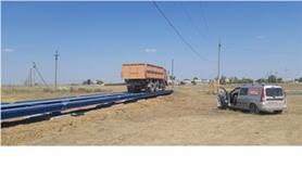 Первый проезд автомобиля по весам до 80 тонн, 24 метра после окончания монтажных работ. Автомобильные весы типа ВАЛ-М- 80/40-24