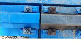 Стык рельса на платформе вагонных весов БАМ и путевого рельса