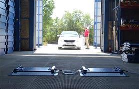 Автомобильные подкладные весы ИСТОК в рабочем положении