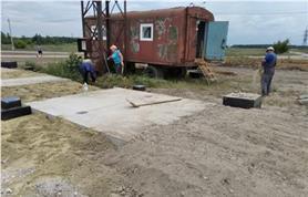 Подготовка основания из плит для установки автовесов ВАЛ-М-40-8. Установка готовых опор под светофоры, камеры, считыватели.