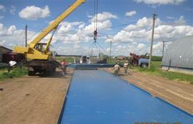 Монтаж автовесов ВАЛ(ц) до 100 тонн, 24 метра. Цельноплатформенные автомобильные весы.